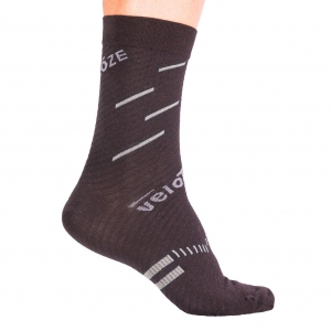 VELOTOZE SOCK MERINO BLACK / GREY - Click for more info