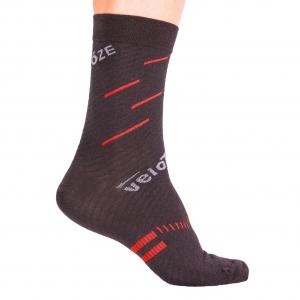 VELOTOZE SOCK MERINO BLACK / RED - Click for more info
