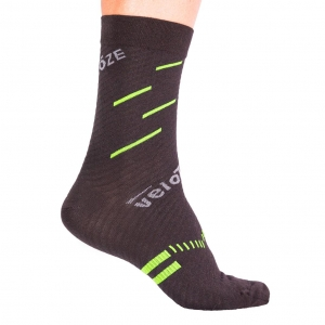 VELOTOZE SOCK MERINO BLACK / YELLOW - Click for more info