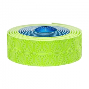 SUPACAZ BAR TAPE SSK NEON BLUE / NEON YELLOW WITH YELLOW PLUGS