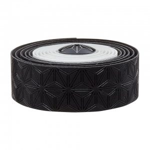 SUPACAZ BAR TAPE SSK WHITE / BLACK WITH BLACK PLUGS