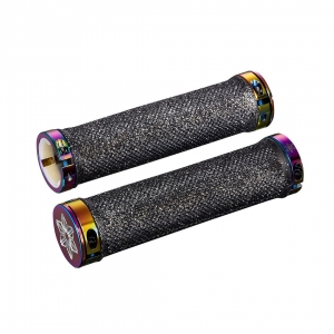 SUPACAZ BAR GRIPS DIAMOND BLACK WITH OILSLICK STAR RINGS - Click for more info