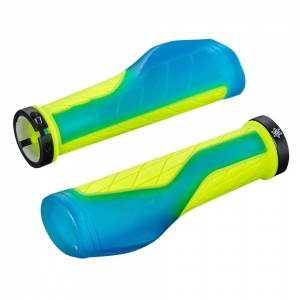SUPACAZ BAR GRIPS ERGO NEON BLUE CLEAR / YELLOW - Click for more info