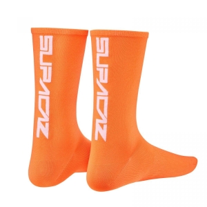 SUPACAZ SOCKS NEON ORANGE / WHITE - Click for more info
