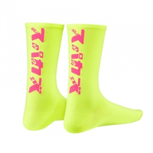 SUPACAZ SOCKS KATAKANA NEON YELLOW / PINK - Click for more info