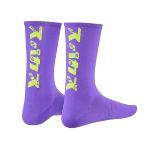 SUPACAZ SOCKS KATAKANA NEON PURPLE / YELLOW - Click for more info