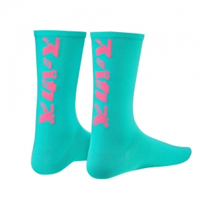 SUPACAZ SOCKS KATAKANA CELESTE / NEON PINK - Click for more info