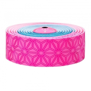 SUPACAZ BAR TAPE SSK NEON PINK / NEON BLUE PRINT WITH PINK PLUGS