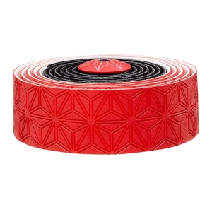 SUPACAZ BAR TAPE SSK RED / BLACK WITH BLACK PLUGS